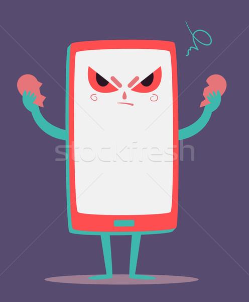 сердиться сотового телефона сердце отдельно Cartoon телефон Сток-фото © penguinline