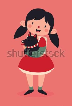 Iskolás lány tart ajándék rajz lány visel Stock fotó © penguinline
