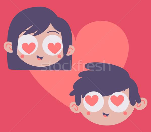 Couple Heads Inside Heart Stock photo © penguinline