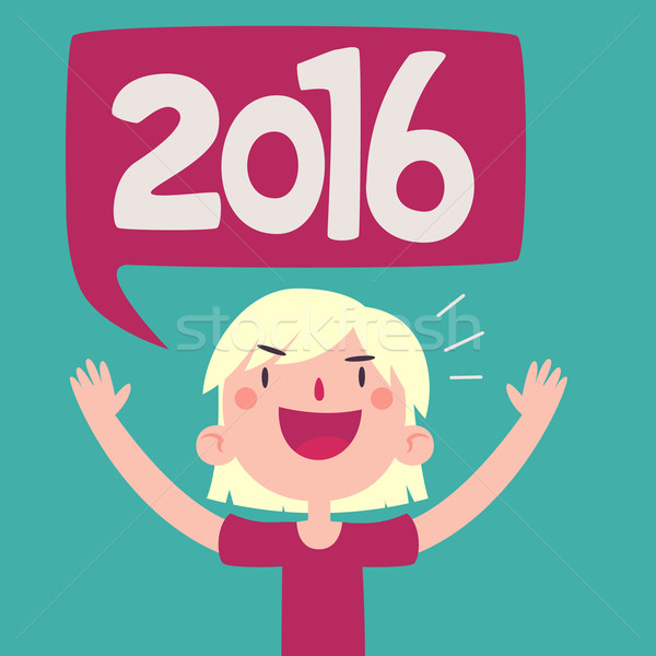 Cartoon Girl Celebrating the New Year 2016 Stock photo © penguinline