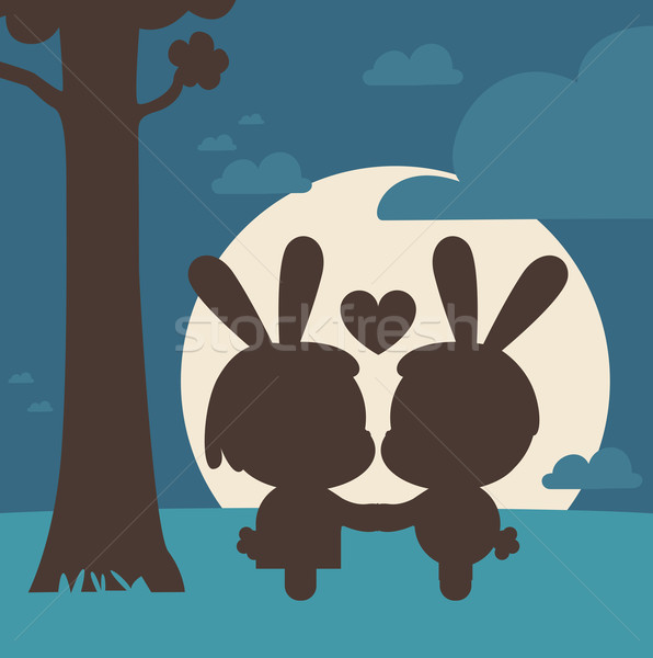 Bunny Couple Kissing Under Tree Stock photo © penguinline