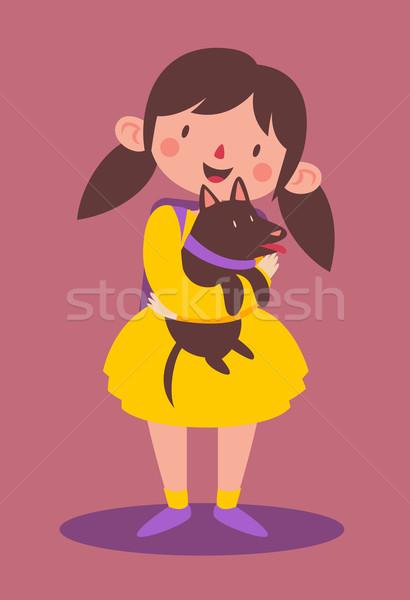 Iskolás lány tart kutya rajz lány visel Stock fotó © penguinline