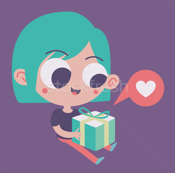 Cute Girl in Love Holding a Present Stock photo © penguinline