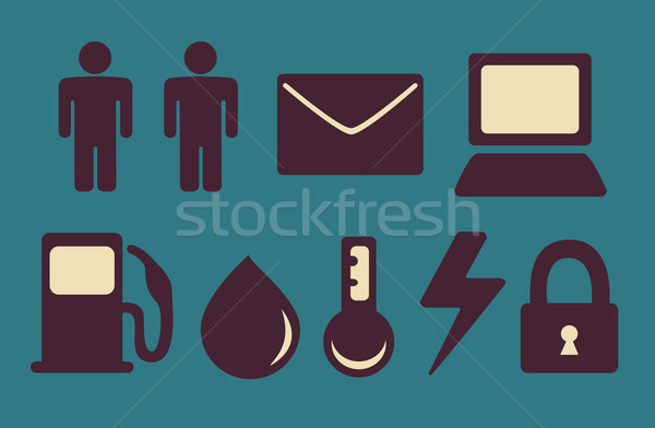 Different Industries Icon Set Stock photo © penguinline