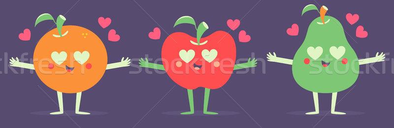 Set of Vector Fruits in Love Stock photo © penguinline