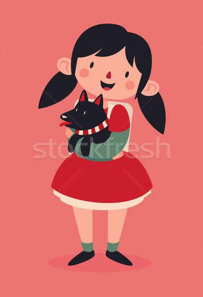 Christmas Girl Holding her Dog Stock photo © penguinline