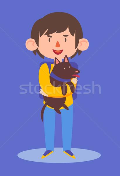 Iskolás fiú tart kutya rajz fiú visel Stock fotó © penguinline