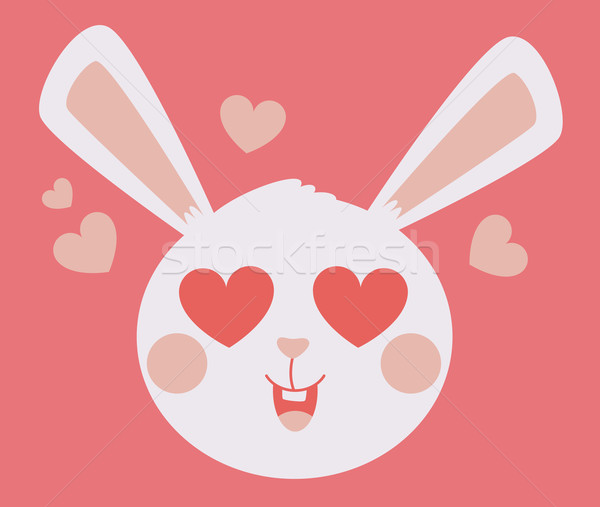 Cute Bunny Head Crazy in Love Stock photo © penguinline