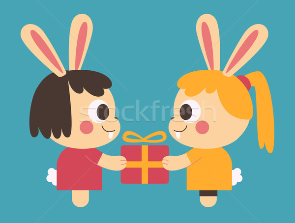 Homosexual Bunny Couple Trading a Present Stock photo © penguinline