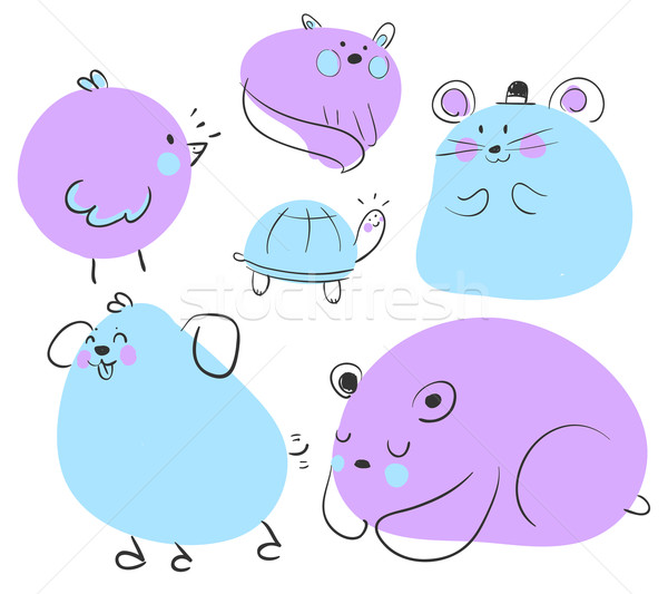 Blue and Purple Animal Doodles. Stock photo © penguinline