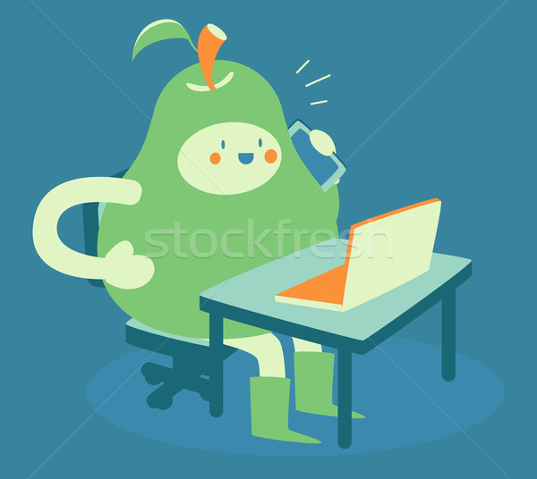 Busy Pear at Computer and Phone Stock photo © penguinline
