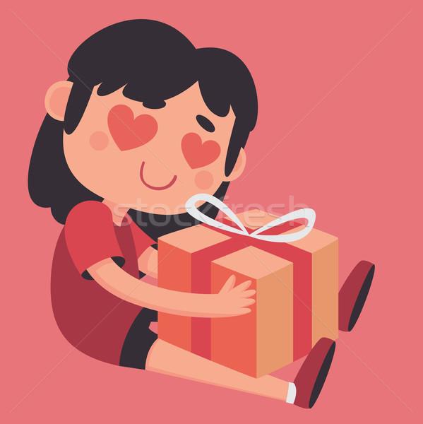 Crazy Heart Eyes Girl Holding a Present Stock photo © penguinline
