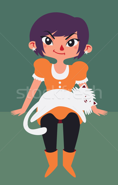 Cute Girl with Cat Laying on her Lap Stock photo © penguinline