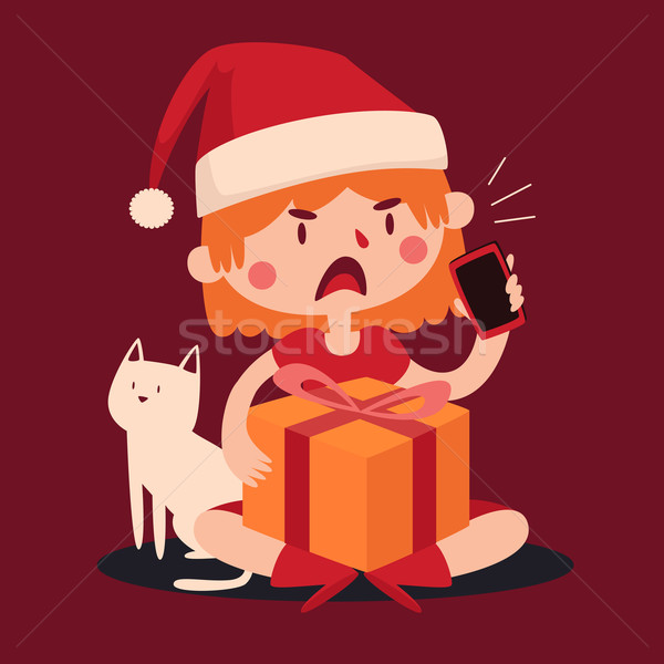Christmas Girl Arguing at the Phone and Holding a Present next t Stock photo © penguinline
