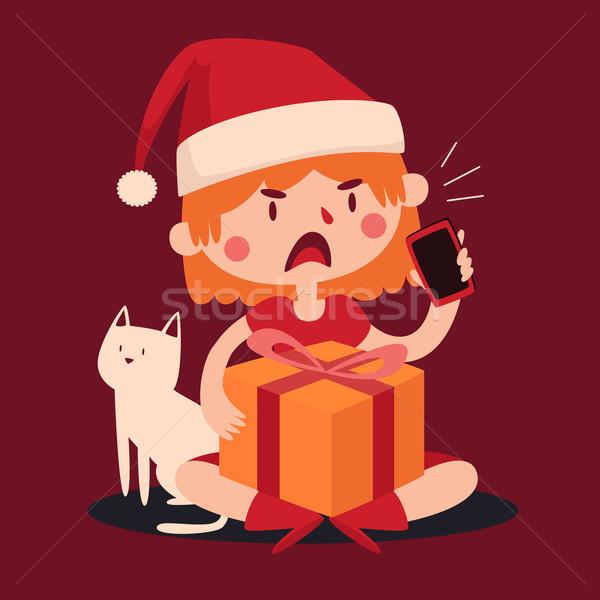 Karácsony lány veszekedik telefon tart ajándék Stock fotó © penguinline