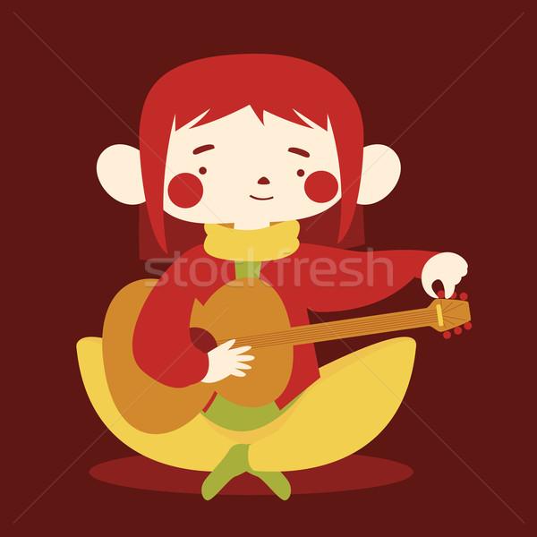 Sevimli kız ayar akustik gitar karikatür renk Stok fotoğraf © penguinline