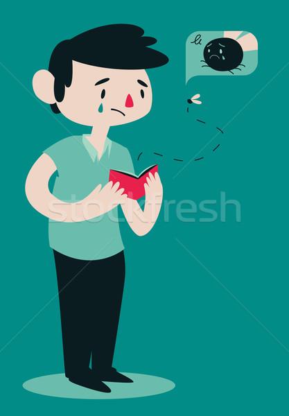 Sad Broken Man Opening Wallet Stock photo © penguinline