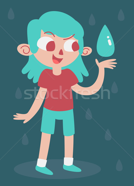 Elemental Girl Happy With Water Stock photo © penguinline