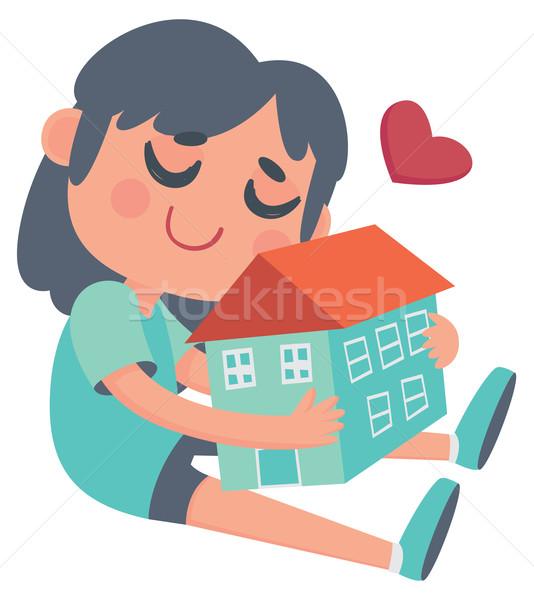 Girl hugging a House Stock photo © penguinline