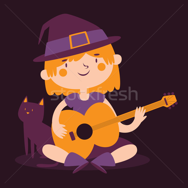 Witch Girl Playing Guitar Next to her Cat Stock photo © penguinline