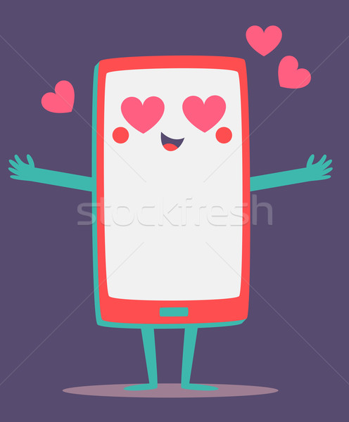 Cute Cell Phone Crazy in Love Stock photo © penguinline