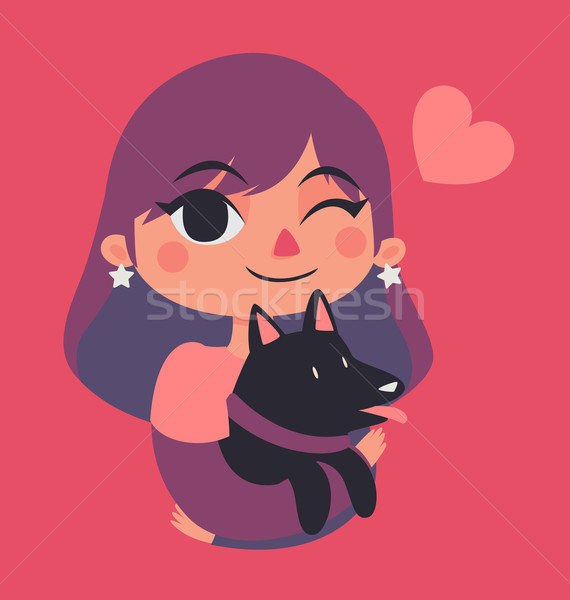 Cute Girl Winking and Holding a Dog Stock photo © penguinline