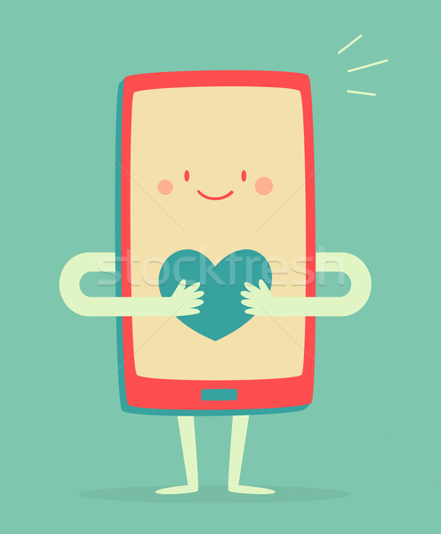 Happy Smartphone Holding a Heart Stock photo © penguinline