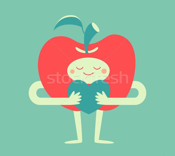 Cute Apple Hugging A Heart Vector Illustration Aline Sentone