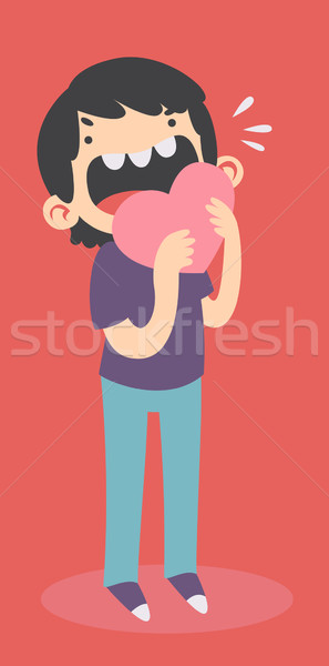 Young Man Eating a Heart Stock photo © penguinline