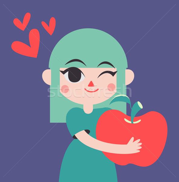 Cute Girld Holding a Giant Apple Stock photo © penguinline