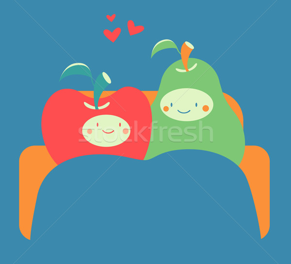 Cozy Fruit Couple on Sofa Stock photo © penguinline
