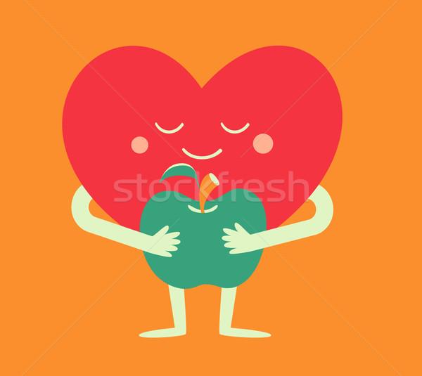 Cartoon Heart Holding an Apple Stock photo © penguinline