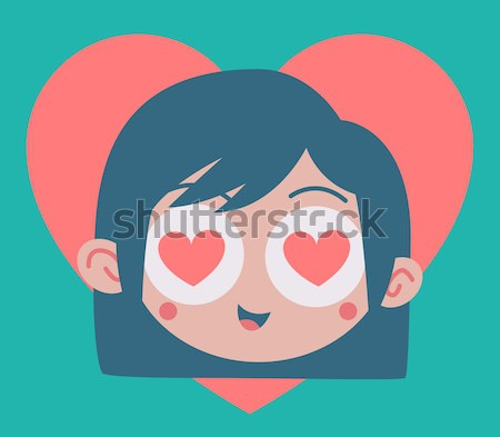 Cartoon Girl Madly in Love Stock photo © penguinline