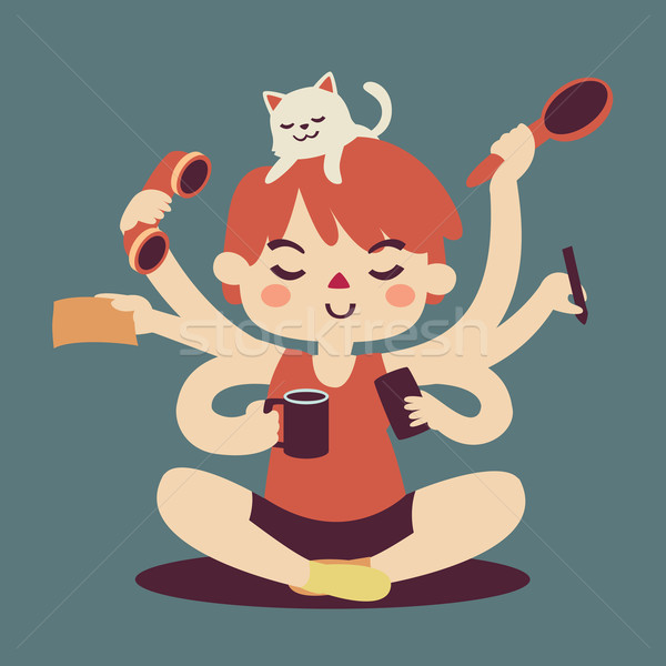 Stock photo: Cartoon Girl Multitasking