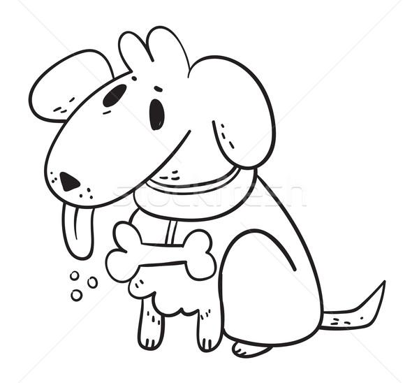 белый Ghost собака рисованной Cartoon глазах Сток-фото © penguinline