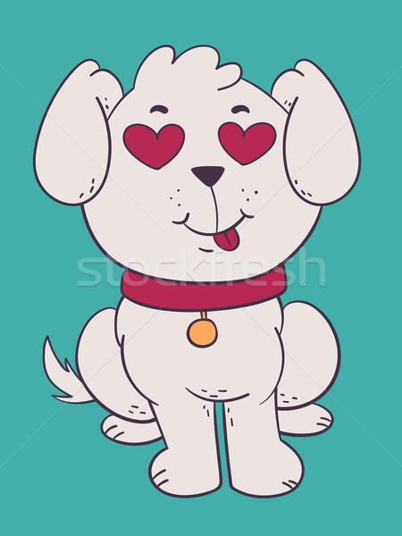 Cute Dog in Love with Hearts Instead of Eyes Stock photo © penguinline