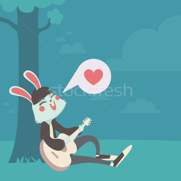Bunny in Love Singing Under the Tree Stock photo © penguinline