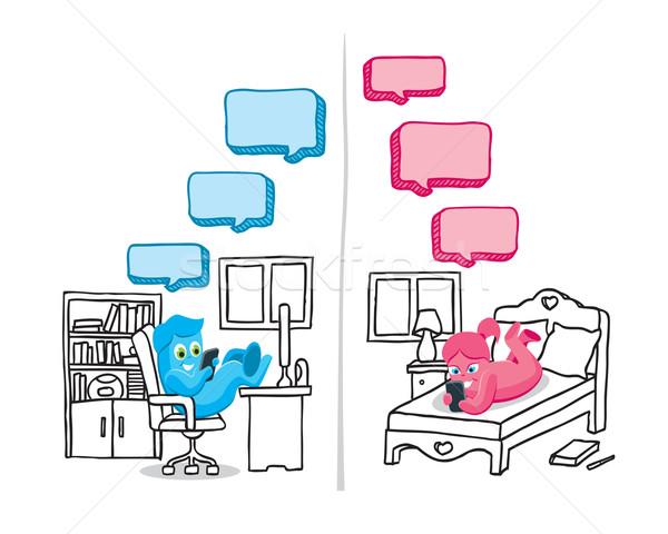 Szöveges üzenet párbeszéd illusztráció telefon pár technológia Stock fotó © penivajz