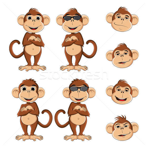 Cool aap illustratie bril verscheidene verschillend Stockfoto © penivajz