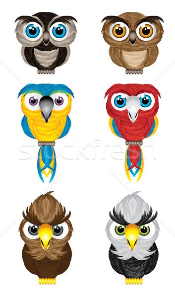 Vogels illustratie cute uilen papegaaien Stockfoto © penivajz