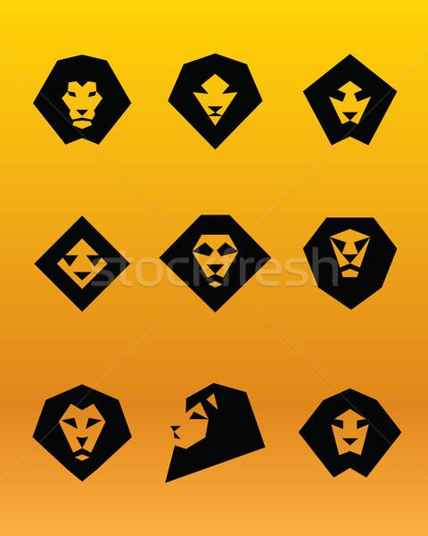 Aslan logo örnek siyah kafa turuncu Stok fotoğraf © penivajz