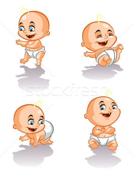 Stockfoto: Zoete · baby · illustratie · kruipen · lopen · glimlachend