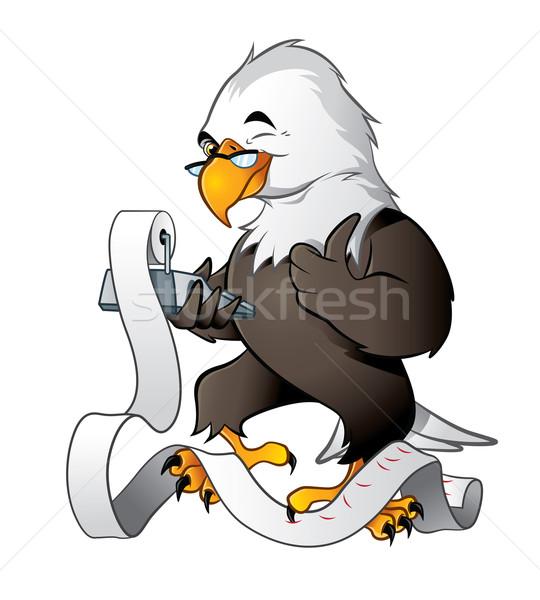 Cute eagle bookkeeper Stock photo © penivajz