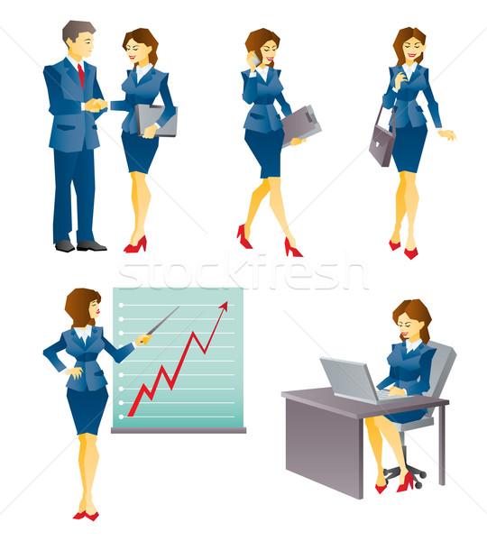 Zakenvrouw illustratie verschillend business werk situatie Stockfoto © penivajz