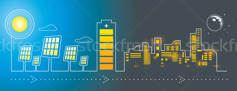Solar panels city energy charging   Stock photo © penivajz