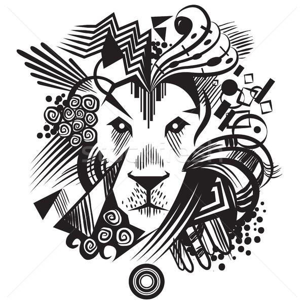 Zwarte abstract leeuw meetkundig illustratie Stockfoto © penivajz