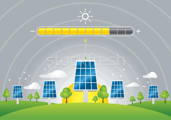 Stockfoto: Zonnepanelen · energie · illustratie · groene · veld · gras