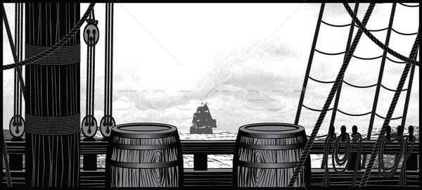 Schip dek touwen illustratie Stockfoto © penivajz