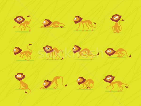 Groene illustratie cute leeuw dozijn achtergrond Stockfoto © penivajz