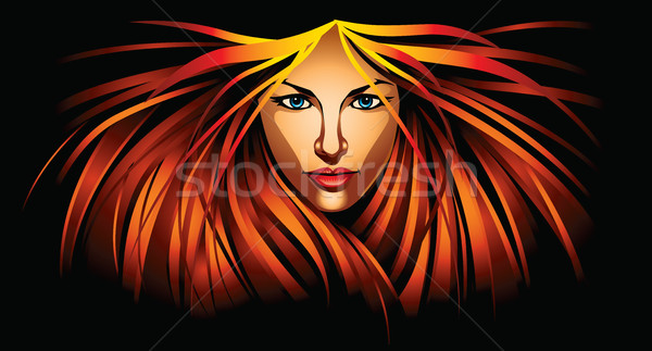 Mooi meisje brand illustratie vrouw Stockfoto © penivajz